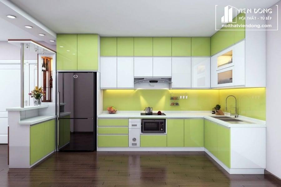 tủ bếp acrylic arc009 chữ L