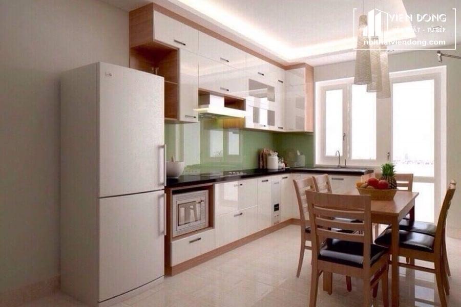 tủ bếp acrylic arc014 chữ L