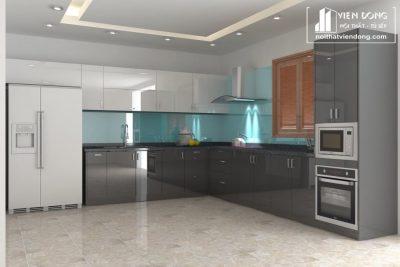 Tủ bếp acrylic arc016 chữ L