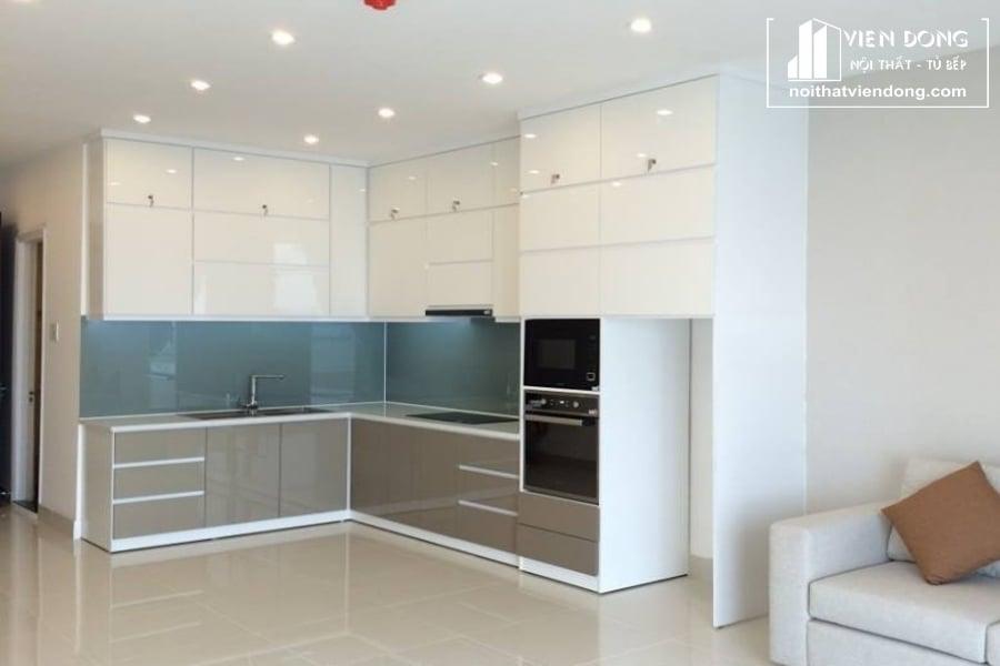 Tủ bếp acrylic arc019 chữ L