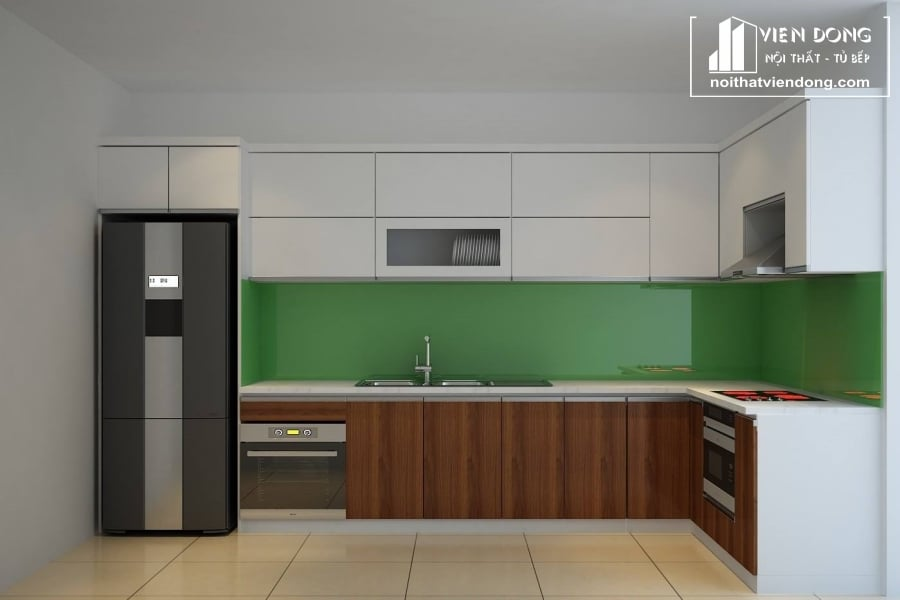 Tủ bếp acrylic arc021 chữ L