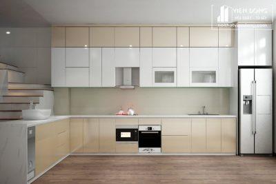 Tủ bếp acrylic arc022 chữ L
