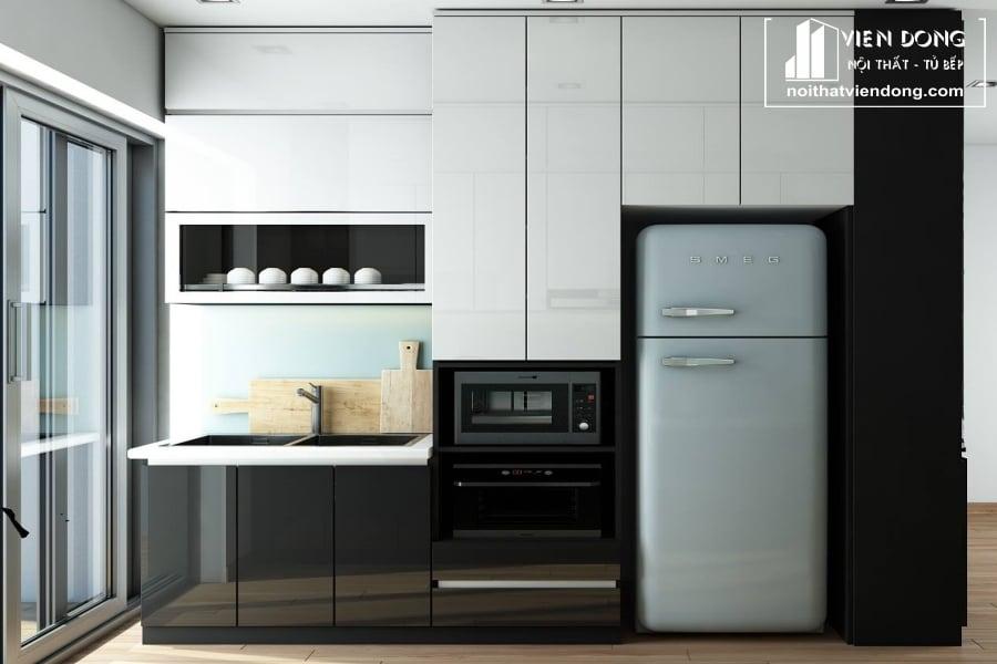 Tủ bếp acrylic arc040 hai dãy song song