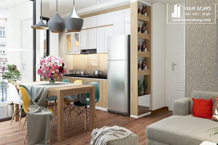 Tủ bếp acrylic arc051 chữ L