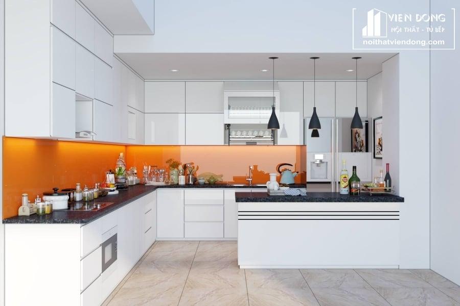 Tủ bếp acrylic arc060 kết hợp quầy bar