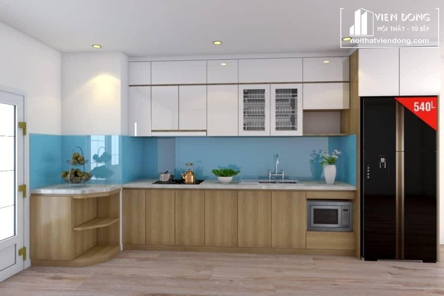 Tủ bếp acrylic arc093 chữ L