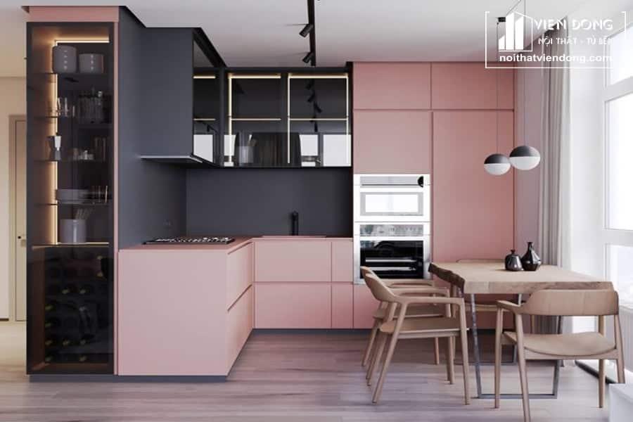 Tủ bếp acrylic arc094 chữ L