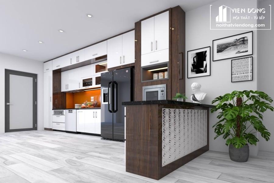 tủ bếp acrylic arc116 chữ L