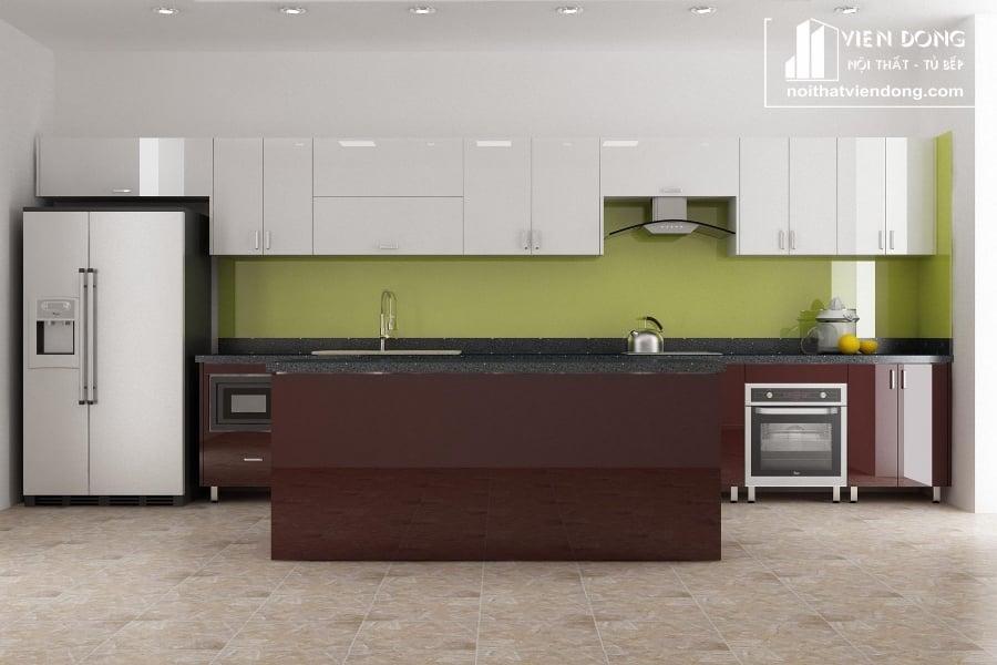 Tủ bếp acrylic arc120 kết hợp quầy bar