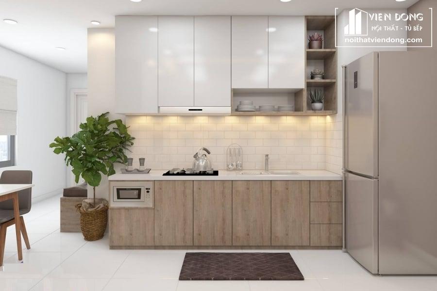 Tủ bếp acrylic arc122 chữ L