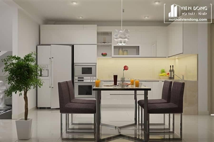 tủ bếp acrylic arc124 chữ L