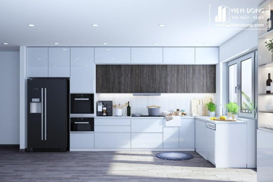 tủ bếp acrylic arc126 chữ L