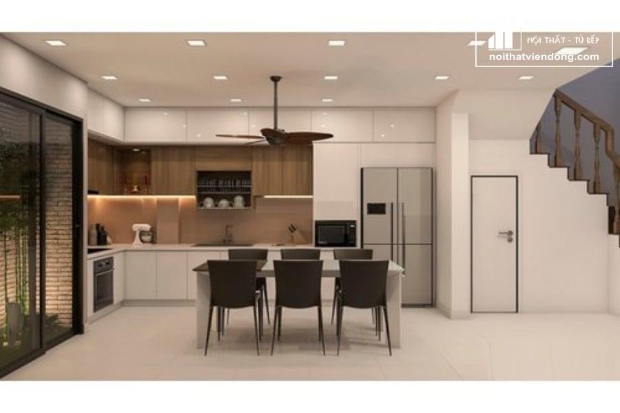 tủ bếp acrylic arc128 chữ L