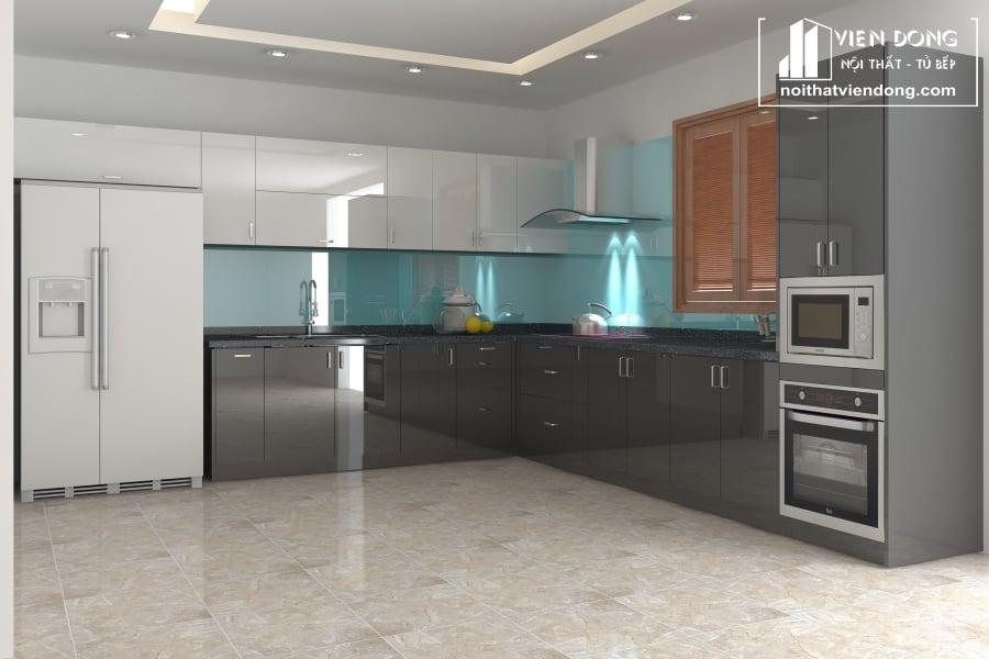 tủ bếp acrylic arc131 chữ L