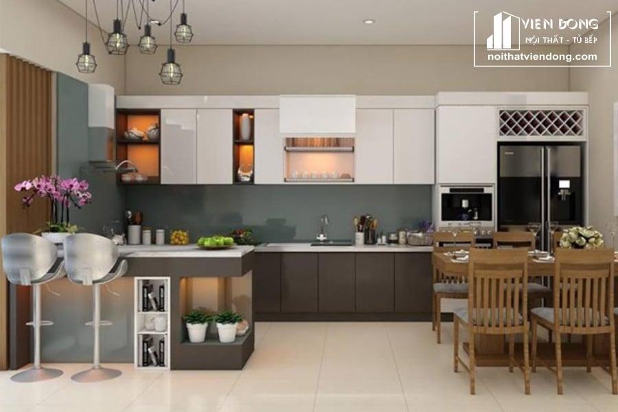 Tủ bếp acrylic arc136 chữ U