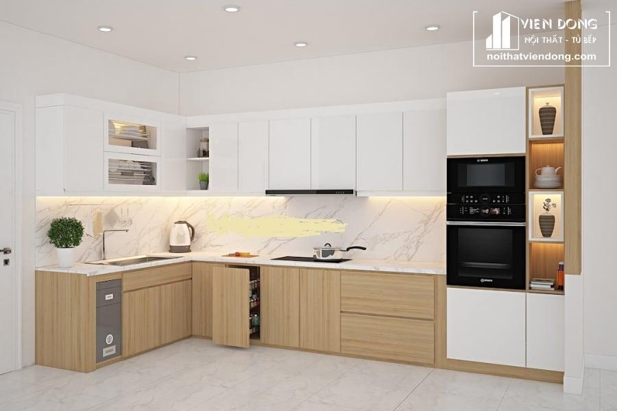 tủ bếp acrylic arc149 chữ L