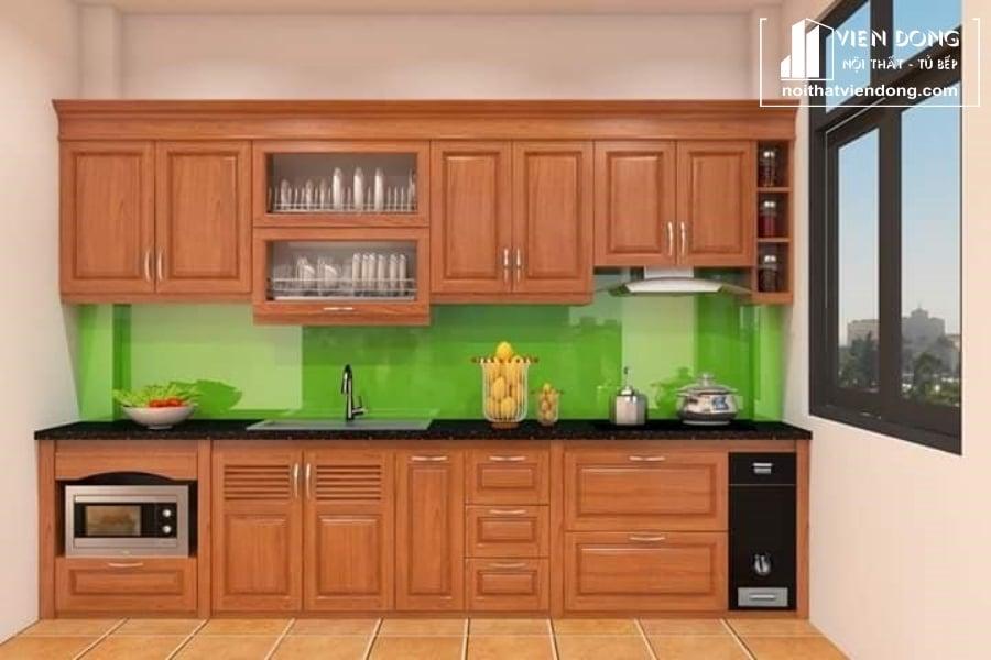 Tủ bếp gỗ sồi giá rẻ TBS012