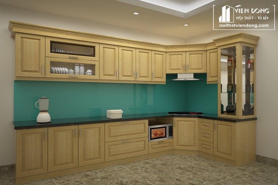 Tủ bếp gỗ sồi nga TBS015