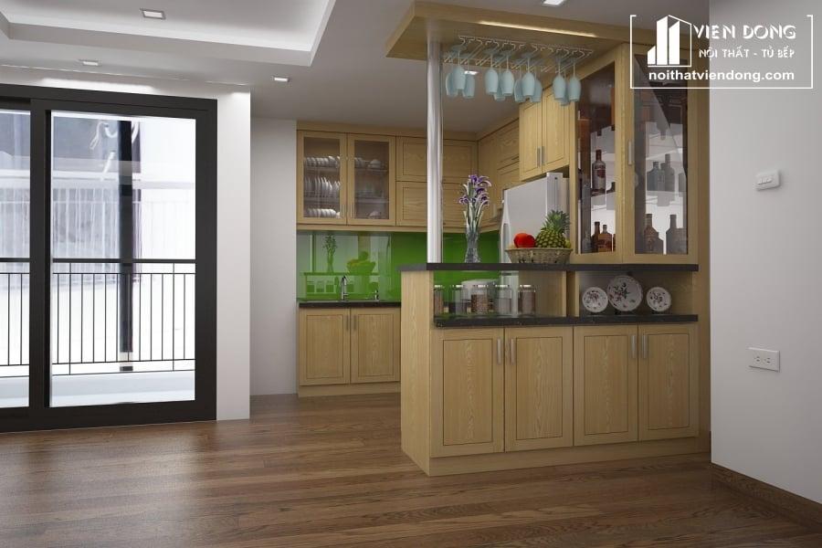 Tủ bếp gỗ sồi nga chữ U TBS055