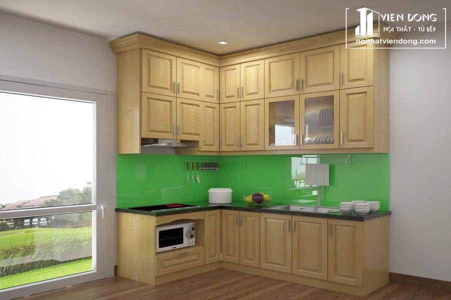 Tủ bếp gỗ sồi trắng hiện đại TBS068