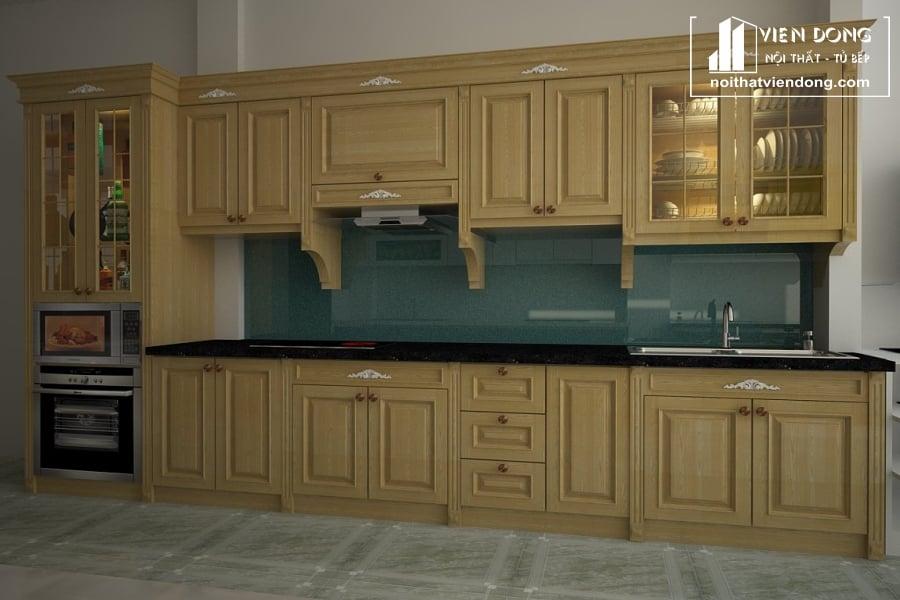 Tủ bếp gỗ sồi chữ I TBS072
