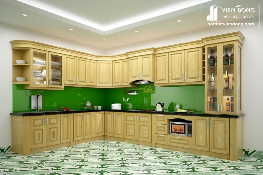 Tủ bếp gỗ sồi trắng hiện đại TBS074