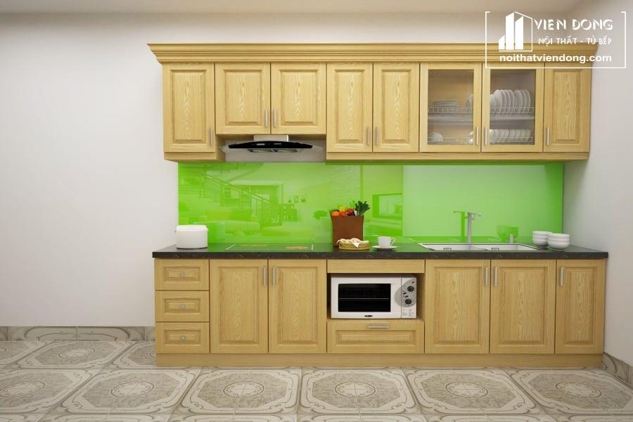 Tủ bếp gỗ sồi nga chữ I TBS085