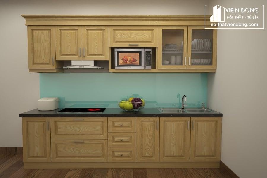 Tủ bếp gỗ sồi nga chữ I TBS086