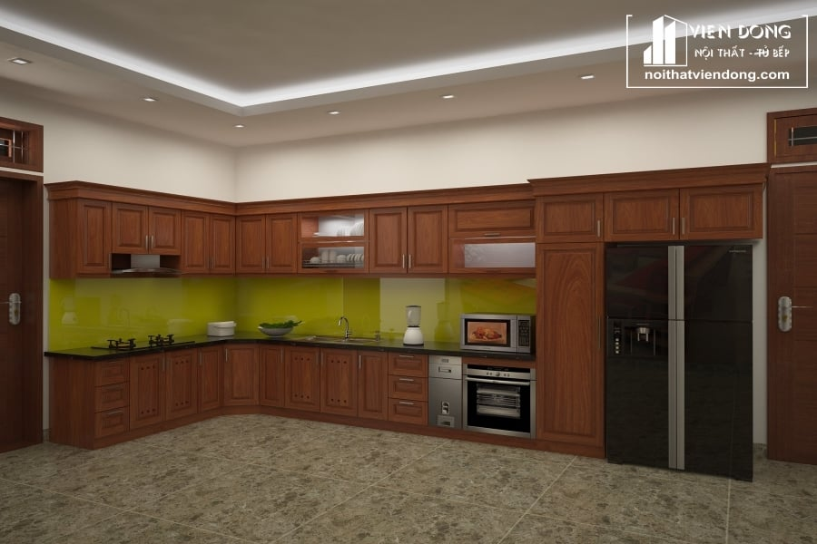 Tủ bếp gỗ sồi TBS091