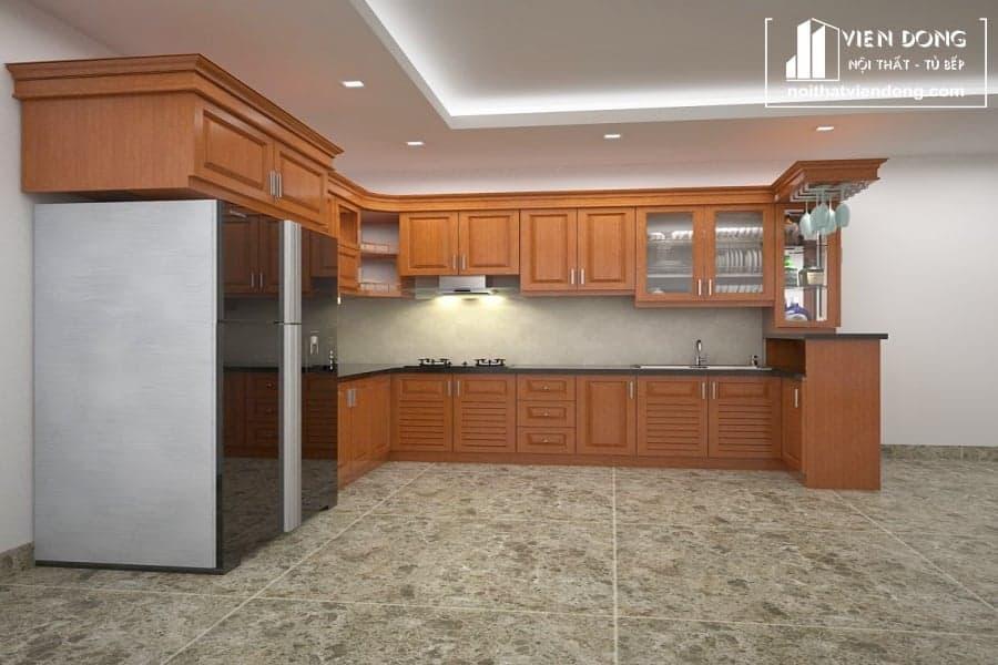 Tủ bếp gỗ sồi giá rẻ TBS093