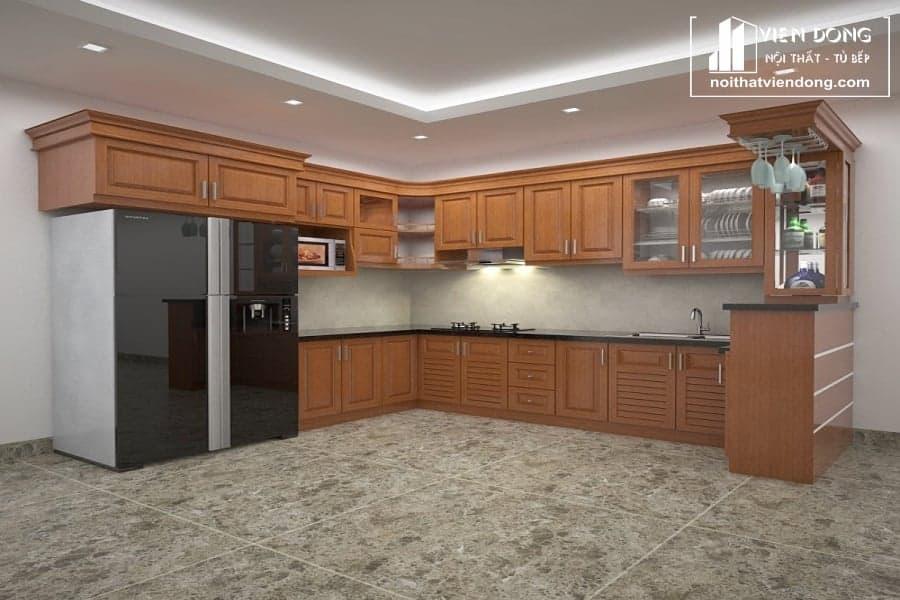 Tủ bếp gỗ sồi giá rẻ TBS094