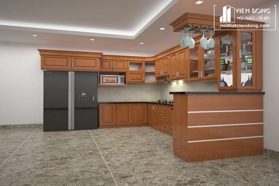 Tủ bếp gỗ sồi giá rẻ TBS095