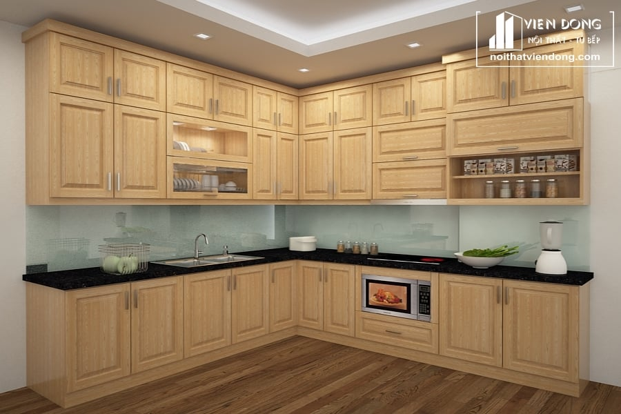 Tủ bếp gỗ sồi nga chữ L TBS101