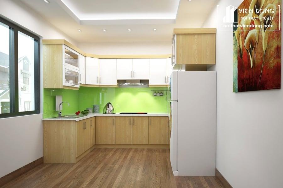 Tủ bếp gỗ sồi nga chữ U TBS102