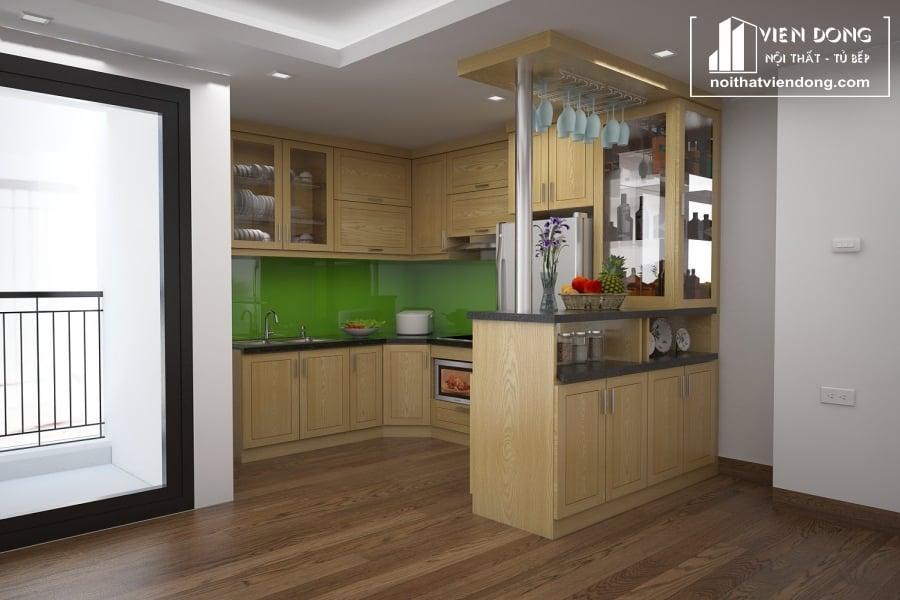 Tủ bếp gỗ sồi nga chữ U TBS103