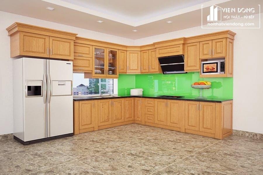 Tủ bếp gỗ sồi nga hiện đại TBS105