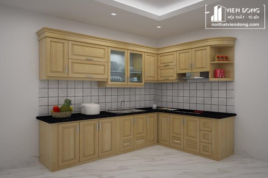 Tủ bếp gỗ sồi chữ L TBS111