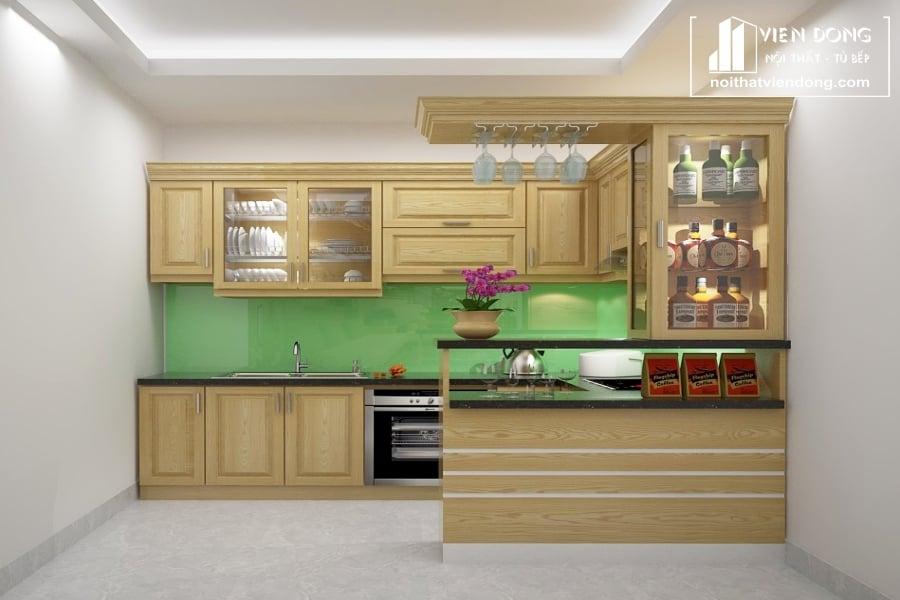Tủ bếp gỗ sồi nga chữ U TBS120