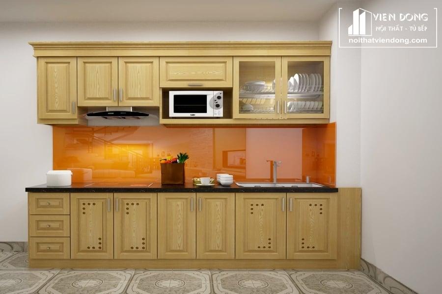 Tủ bếp gỗ sồi nga đẹp TBS124