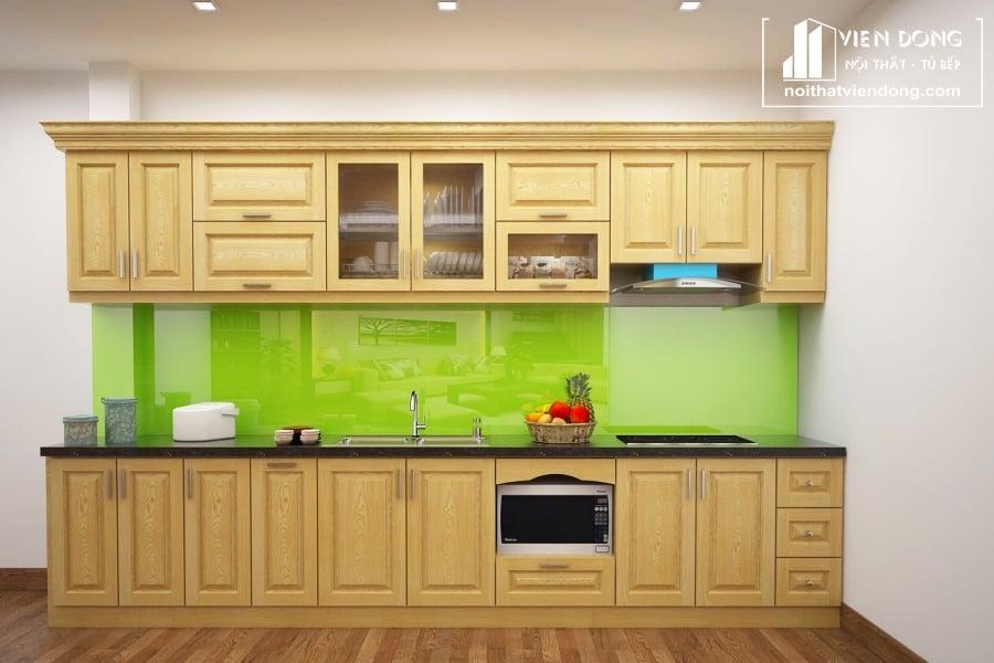 Tủ bếp gỗ sồi nga đẹp TBS133