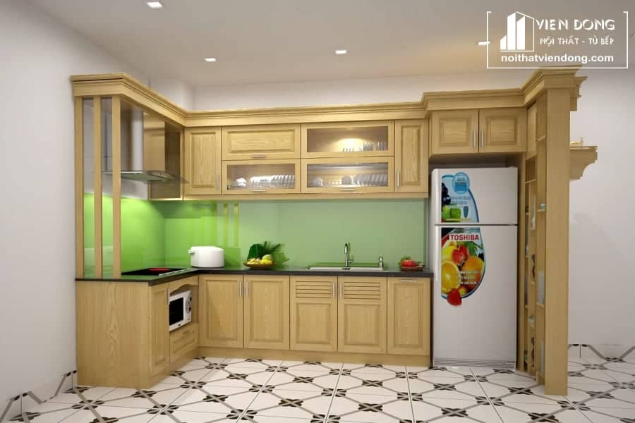 Tủ bếp gỗ sồi nga TBS137 chữ L