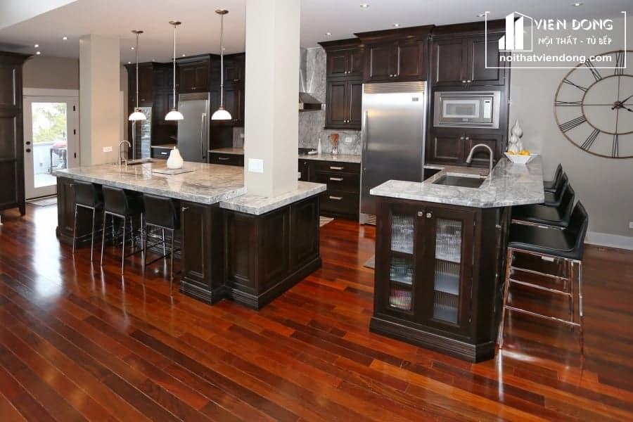 Tủ bếp gỗ sồi nga hiện đại TBS146