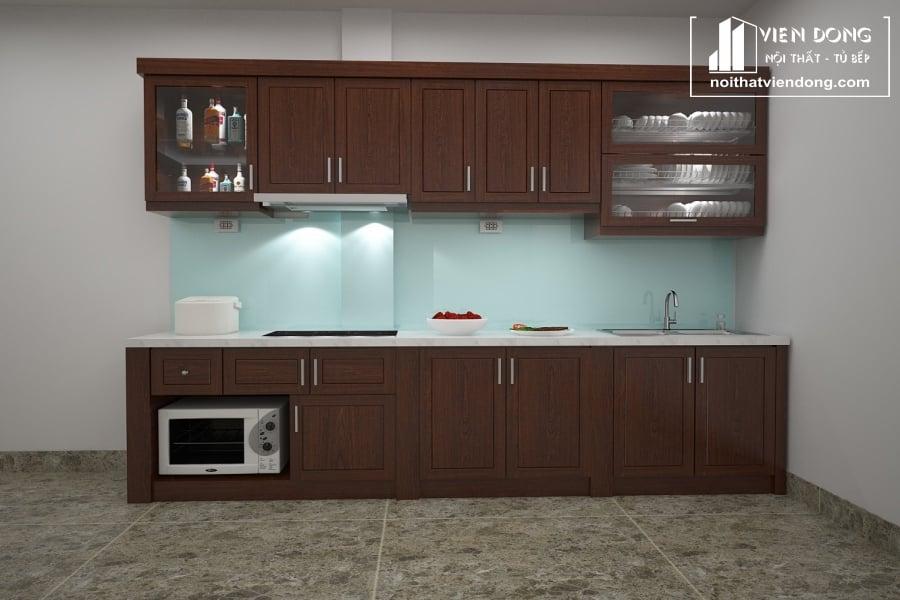 Tủ bếp gỗ xoan chữ I TBX002