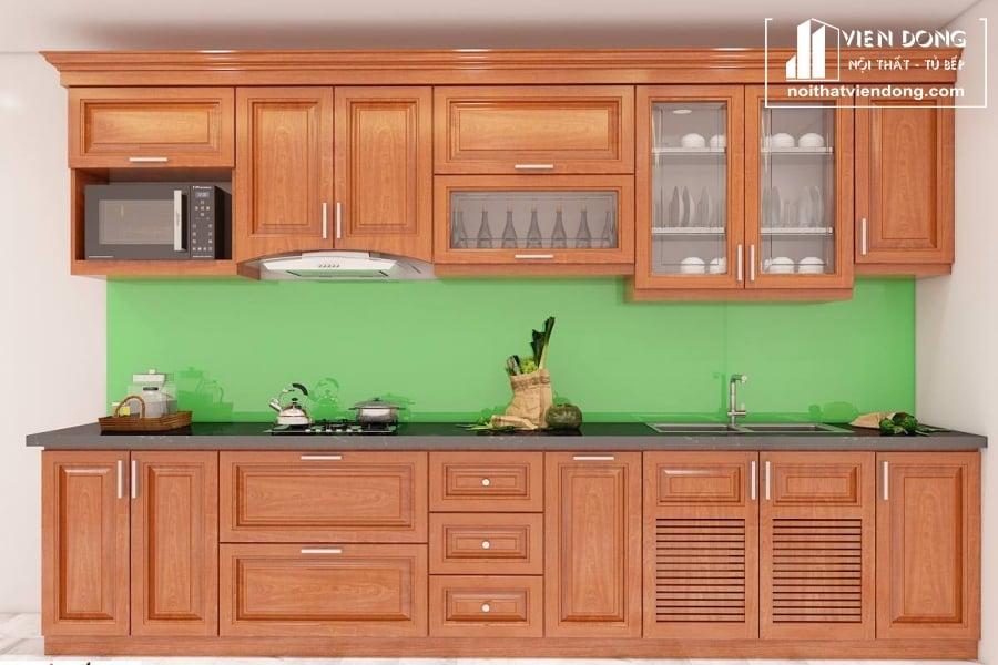Tủ bếp gỗ xoan chữ I TBX013