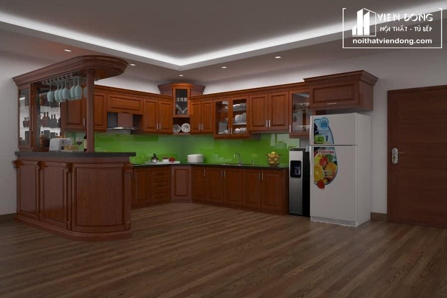Mẫu tủ bếp xoan đào kết hợp quầy bar