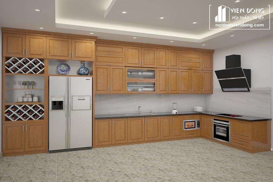 tủ bếp được làm từ gỗ tụ nhiên sồi mỹ