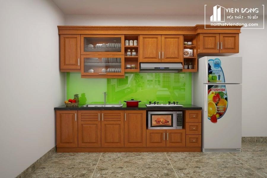 Tủ bếp gỗ xoan chữ I TBX037