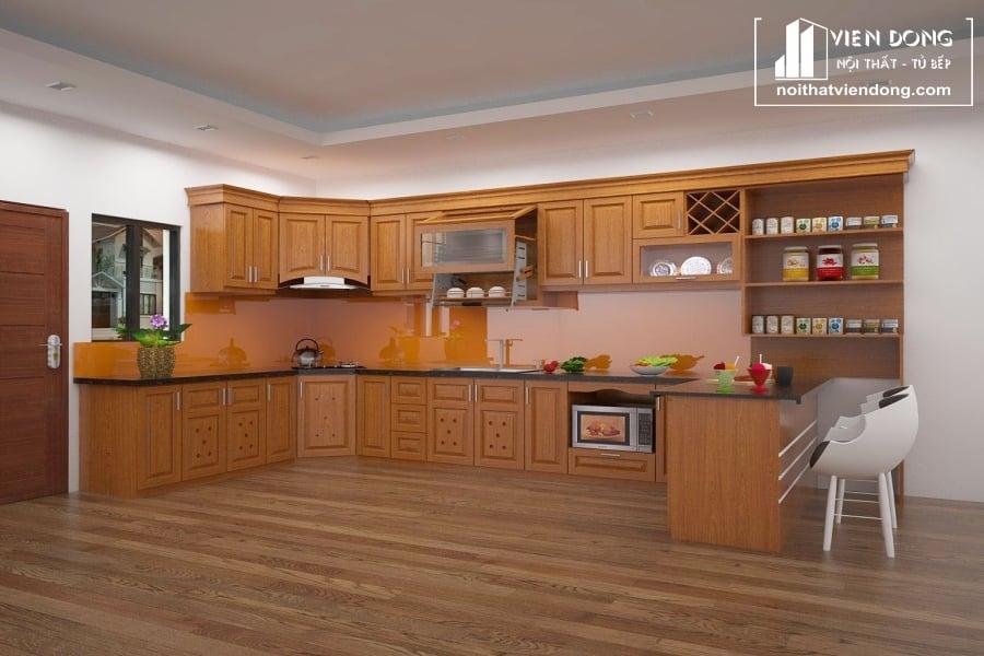tủ bếp chữ U được làm từ gỗ sồi mỹ tự nhiên