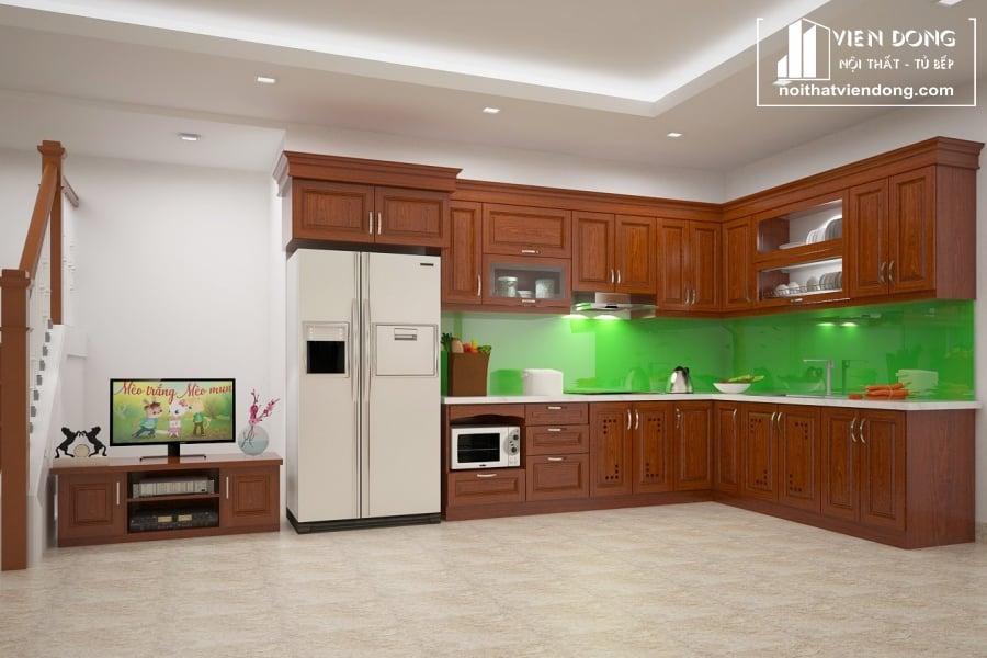 tủ bếp đẹp được làm từ gỗ xoan đào nam phi nhập khẩu