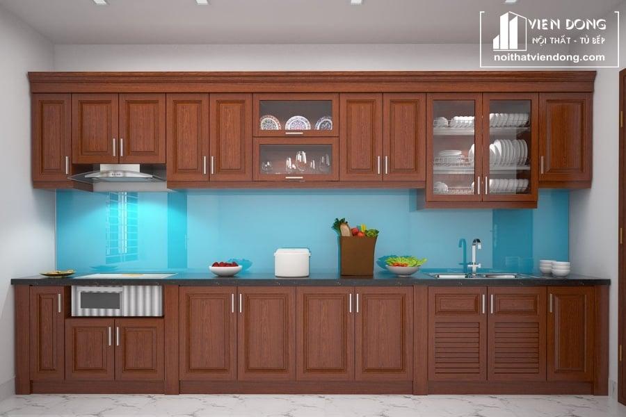 Tủ bếp gỗ xoan đào đẹp chữ I